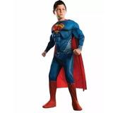 Fantasia Infantil Super Homem Com Musculos Capa 7 A 8 Anos