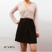 Vestido Corto Casual Negro/rosa A Rayas Falda Campana