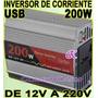 Adaptador Inversor Corriente P/ Auto De 12v A 220v Usb 200w