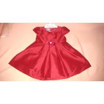 Roupa Vestido Festa Tafetá Vermelho Infantil Menina - 2441