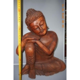 Estatua Buda Recostado De Madera Maciza Tallada!! 50cm Alto