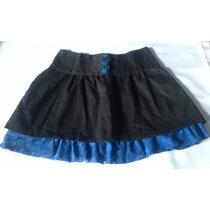 Pollera Original Talle M Negra Con Azul Con Encaje Bolsillos