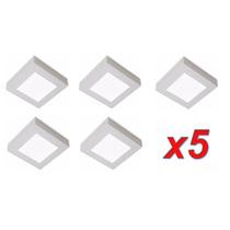 Kit C/ 5 Painel Plafon Led Quadrado Sobrepor Ecomico 12w