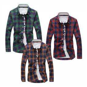 Camisas Cuadros Maga Largas /cortas Caballeros Y Niños