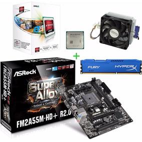 Kit Asrock Fm2a55m-hd+ Processador Amd A4 4000 3.2ghz + 4gb