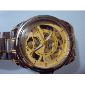 Reloj Crown Skeleton Automatico Extensible De Acero Oro