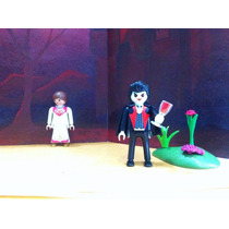 Playmobil Dracula Con Novia Victima Halloween Castillo Js B