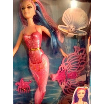 Boneca Skyla Modelo Barbbie Cauda Sereia Cores Mágicas 28cm