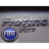 Kit Emblemas Fiorino + Fire + Fiat Azul Redondo 85mm - Sle