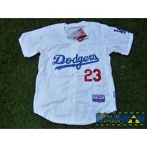 Jersey Beisbol Los Angeles Dodgers Titan Gonzalez 23 Blanca