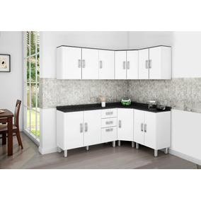 Cozinha Armários Modulada 6 Peças Branco Preto Poliman