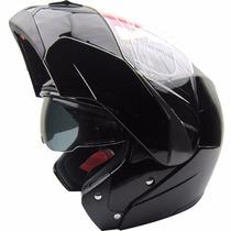Casco Rebatible Doble Visor Beon B700 Shiny Black Fas Motos