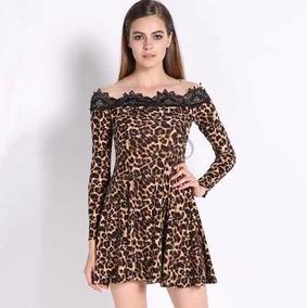 Vestido Leopardo / Onça Com Tule / Transparência E Renda