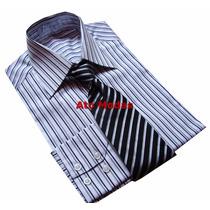Camisa Masculina Botão Duplo Listrada N.02 (p)ponta D Estoqu