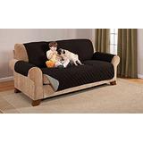 Protector Reversible D Muebles Loveseat Negro/gris 3 Puestos