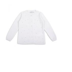 Sweter Niña Manga Larga Blanco Con Plateado Marca Epk