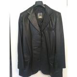 Chaqueta De Cuero Negra Tipo Saco Talla M Leather & Company
