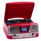 Vitrola Ctx Harmony Retrô Usb, Rádio Fm, Cd Player Vermelha