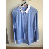 Camisa Azul Clara Com Gola E Punho Branco Le Lis Blanc