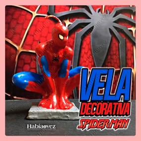 Vela De Spiderman Para Pastel Y Fiesta Temática