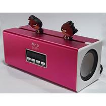 Caixa Som Mini Sound Box Mr. D D-071 Fm/usb/sd Card Rosa