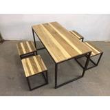 mesa y bancos en hierro y madera comedor quincho jardin