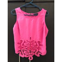 Crop Top Rosa Barbie Neon Crochet Encaje Transparencia Bruna
