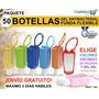 50 Botellas Con Gel Antibacterial 30ml Funda Silicona Colors