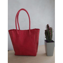 Cartera Tote - Cuero - Color Coral