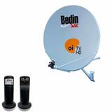 Kit Antena 75 Cm Ku Bedin Sat Oi Tv Hd + Lnbf Duplo