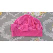 Boina De Plush Infantil Rosa Pink Com Laço M
