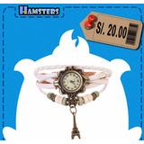 Reloj Pulsera De Cuero Con Pendiente Metálico - Envío Gratis
