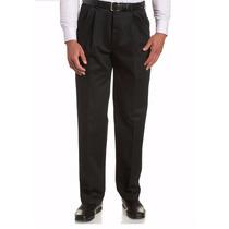 Pantalon De Vestir De Hombre Tela Tropical Mecanica Negro