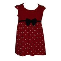 Vestido/bata Menina 1 Ano Vermelho C/bolinhas Ref 9000
