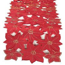 Xia Home Fashions Festivo Del Poinsettia De Navidad Bordada