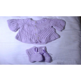 Lindo Conjunto Casaco + Sapato Para Bebê Feito A Mão