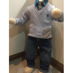 Buzo Escote V Para Niño. Diseño Polo.