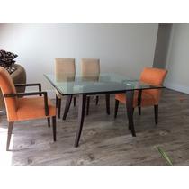 Mesa Jantar Tampão De Vidro 20mm 4 Cadeiras E 2 Poltronas