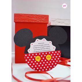 Tarjeta De Invitación Mickey Mouse Y Minnie Mouse