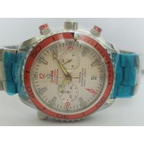 Relógio 007 Omega Seamaster Prata Dial Branco Frete Grátis