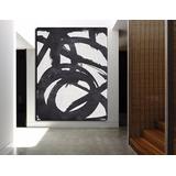 Quadro Pintura Tela Abstrato Preto Branco 1,5 X 2 Metros