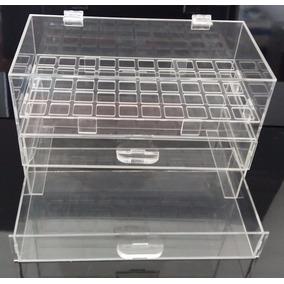 Caixa Organizador De Acrílico Porta 50 Batom C/ Duas Gavetas