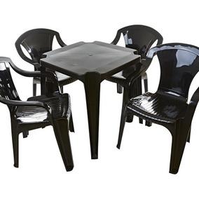 8 Jogos De Mesas C/32 Cadeiras Preta De Plástico Empilháveis