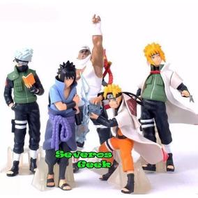 Colecao 5 Bonecos Naruto Uzumaki Kakashi Minato Sasuke Tio