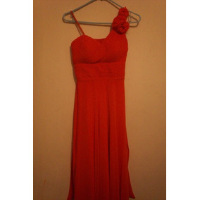 Vestido De Fiesta Color Naranja Coral Coctel Envio Gratis
