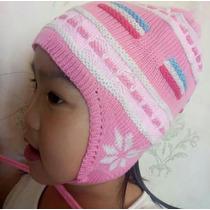 Kit 50 Touca Frio Inverno Lã Rosa Criança Infantil Atacado