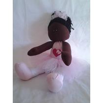 Boneca De Pano Bailarina Negra Decoração Quarto De Bebê