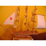 Gran Barco Carabela Colón Artesanal En Madera Hermoso