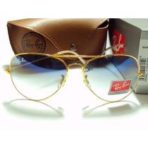 Oculos Rayban Aviador Original Azul Degradê Feminino Masc