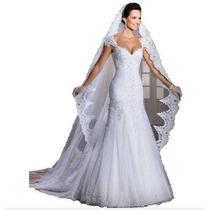Vestido Noiva Cauda Removível Modelo Sereia
